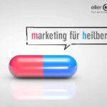 rot-blaue pille mit sprechblase zum thema marketing für heilberufe und praxismarketing